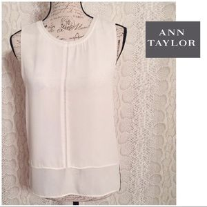 Ann Taylor Off White Sleeveless Blouse
